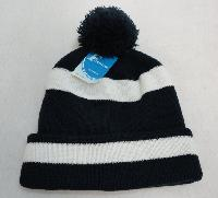 Double-Layer Knitted Hat with PomPom [Navy/White]